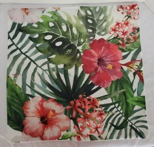 Spring Hibiscus Pillow Cover Tropical  Zipper Close  Cover Only Solid Back
