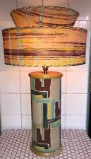 Vintage 1950s 50s Atomic MCM Barkcloth Plaid Blonde Wood Hand Painted Shade Lamp