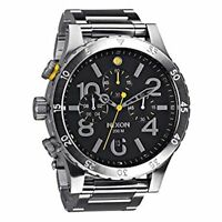 NEW Nixon Watch 48-20 Chrono Black Silver  A486-000 A486000 100% Authentic