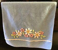 Vintage Martex Blue Chenille Floral Flowers Hand towel