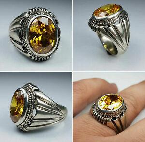 Solid 925 Sterling Silver Dailywear Birthstone Mens Ring Jewelry Citrine Stone