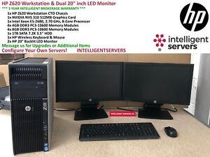 "HP Z620 Workstation, 1x E5-2680 8-Core, 48GB, 1TB HDD, NVS310, Dual 20"" Monitors"