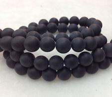 Natural Onyx Gemstone Round Beads 15.5'' Strand 8MM Matte Black