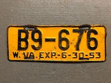VINTAGE 1953 WEST VIRGINIA LICENSE PLATE YELLOW /BLACK B9-676 COOL!!