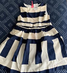 JCrew Crew Cuts Girls Dress Sz 5 Navy Blue and Ivory Stripes Spring Dress