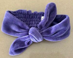 PUMPKIN PATCH Headband Purple Velvet Bow Tie Soft Shirred Elastic One Size