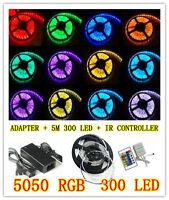 5050 RGB 5M 300 LED SMD 12V LED Strip Light Waterproof + IR Controller + Adapter