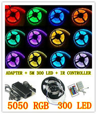 5050 RGB 5M 300 LED SMD 12V LED Strip Light Waterproof + IR Controller + Adapter