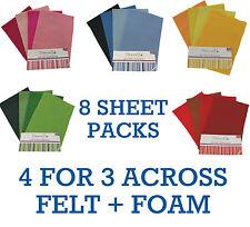 A4 Felt 8 Sheet Shade Multipack Colour Collections Art + Craft Dovecraft Junior