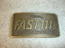Collectible Kenner Fast 111's One of A Kind License Plates! Belt Buckle CPG 1982