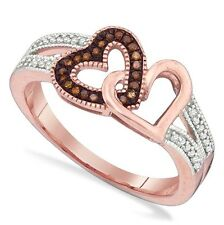 10K Rose Gold Red & White Diamond Ring .15ct Dual Heart Cluster Ring Rose Gold