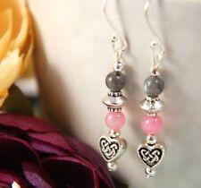Dainty Pink MORGANITE & Grey LABRADORITE Celtic HEART STERLING Silver Earrings
