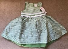 Nwt Gymboree Girls 2T Green Gingham Silk Party Dress EASTER