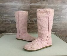 Womens Ugg Boots Pink Cotton Eyelet Shearling Footbed sz 7 Lightweight