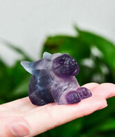 2'' Natural fluorite rabbit quartz Hand Carved crystal Reiki healing 1PC