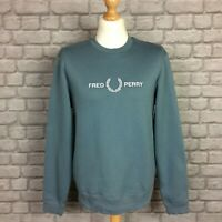 FRED PERRY MENS UK M BLUE SLATE CREW NECK WHITE LOGO JUMPER SWEATSHIRT RRP £90-