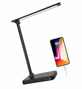 LED Desk Lamp Eye Caring,Dimmable Home Office Lamp with USB Charging Port VOT...