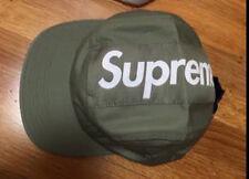 Supreme Top Panel Stripe Camo Cap Box Logo Hat Olive Green FW17 New
