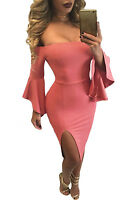 Coral Ruffle Sleeve Off Shoulder Midi Dress club party wear size UK 8-10