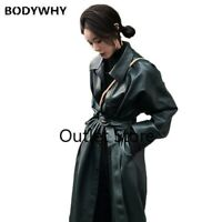 Cool Faux Leather Long Jacket  Women Loose Belt PU Leather  Trench Slim Coat