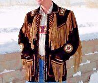 Men's Traditional Western Leather Jacket Cowboy coat With Fringe Bone and Beads