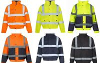 HI VIZ VISIBILITY SECURITY WORK SAFETY BOMBER JACKET WATERPROOF