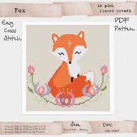 Fox in Pink Flower wreath Embroidery Cross stitch PDF Pattern #257