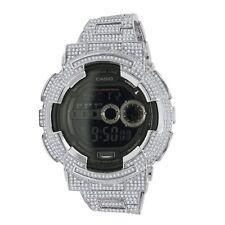 Men's Fully Icy Diamond Simulated G Shock GD100-1B  White Gold Tone Custom Watch