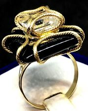 MILOR 14k Yellow Gold Square Cut Onyx & White  Textured Swirl Cocktail Ring 9.25