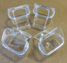 Lot of 4 Clear Transparent Plastic Bird Cage Seed Water Food Feeding Hood Cups