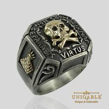 Memento Mori Silver Gold Ring SIZE 12 Masonic Freemason Skull and Bones Biker