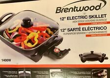Brentwood SK-65 Nonstick Electric Skillet with Glass Lid adjustable control new