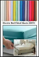 """ELECTRIC BED 4'6"""" x 6'6"""" DOUBLE FITTED SHEET (54"""" X 78"""" X 13"""") 20 COLOURS 200TC"""
