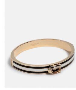 NWT Coach  Bracelet F67480 signature push hinged bangle - Black Very Cute