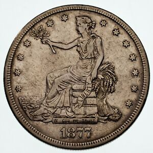 1877-S Trade Dollar in Extra Fine XF Condition, Nice Detail, Light Gray Color