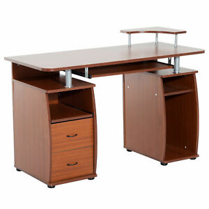 Desk Computer Table Workstation Office Pc Home Study Laptop Writing Corner Brown