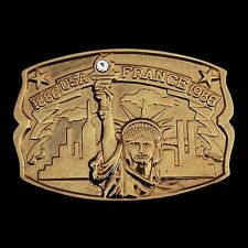 'Statue of Liberty' 3D USA & France Gold Belt Buckle NEW