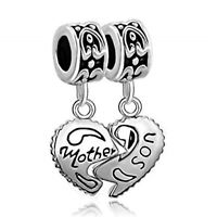 Silver Heart Mother and Son Jewelry Pandora Charm Bracelet Tax Free New