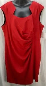 Calvin Klein Dress Plus 20W Red Sheath Square Neck Cap Sleeves Stretch New 4578