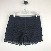 Ann Taylor Loft Women's Navy Blue The Riviera Lace Tier Shorts Size 2