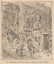 A9099 Spedizione Duca Abruzzi al Polo Nord - Xilografia Antica 1906 - Engraving