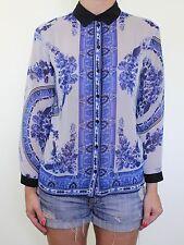 TOPSHOP Blue cream paisley toile oriental porcelain print blouse top size 8 36