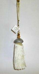 Unusual Tassels Holdback Hooks Beige with Cord And Shells Sea Urchin From Asian