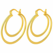 """Nested 1.5"""" Round Hoop Earrings Cute New Yellow Gold Plated Double"""