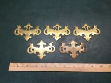 Set of 5 Cast Brass Drawer Cabinet Backplates Bat Wings 3 Escutcheons
