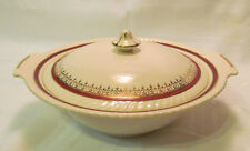 Johnson Brothers Ironstone Maroon Gold Covered Serving Bowl with Lid Circa 1930s