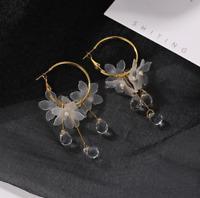 Korean Style Hoop Earrings Crystal Tassel Dangle Acrylic Flower Women Jewelry