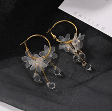 Korean Style Hoop Earrings Crystal Tassel Dangle Acrylic Flower Women Jewelry