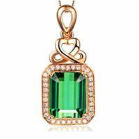 925 Silber Halskette Luxus Elegante Smaragd Edelstein Anhänger Damenschmuck NEU.