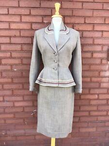 Vintage 1940's 50's Peplum Skirt Suit Lilli Ann Original M